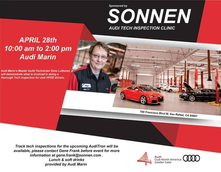 Audi Marin Tech Inspection Clinic Spring 2018 Golden Gate Chapter
